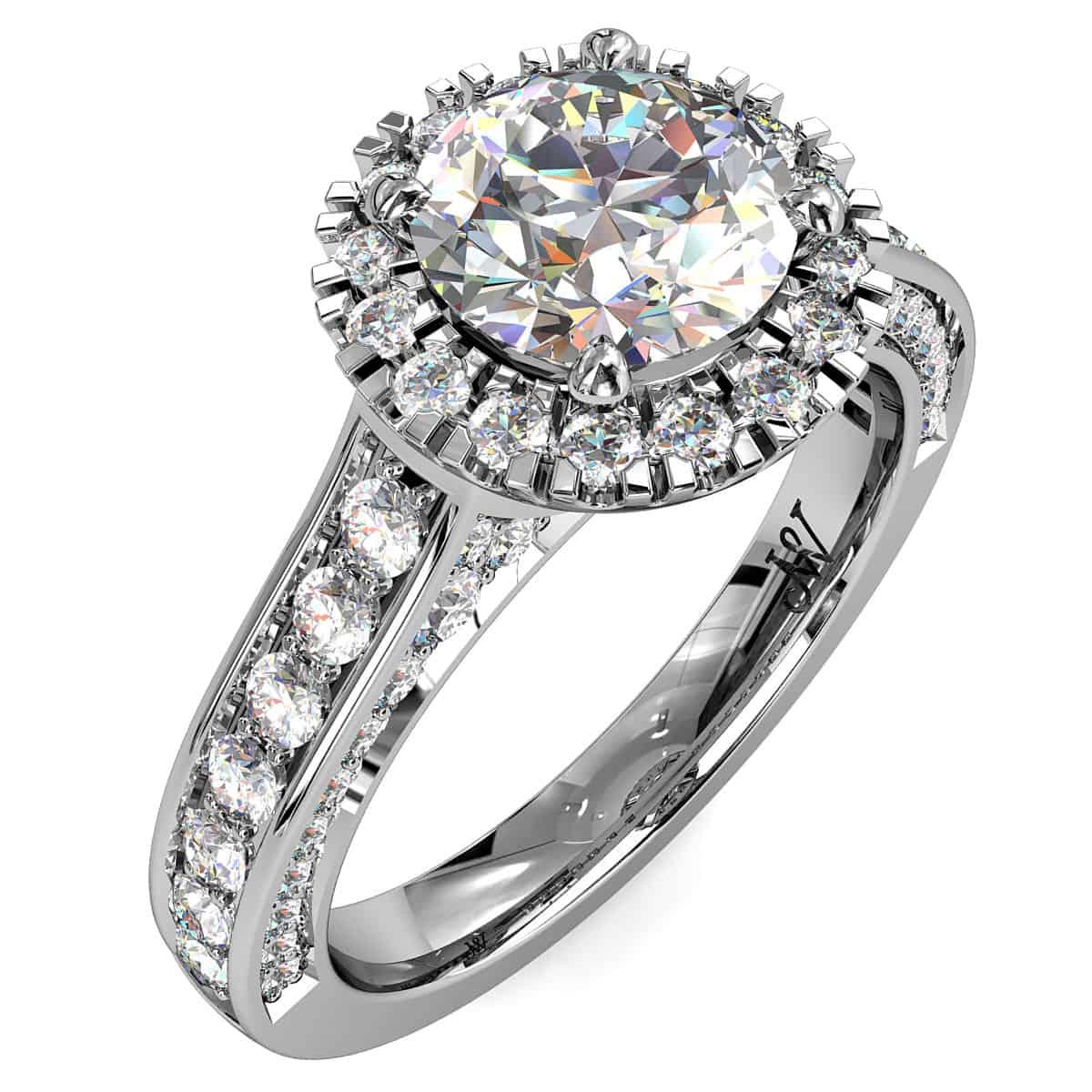 Round Brilliant Cut Diamond Halo Vintage Engagement Ring