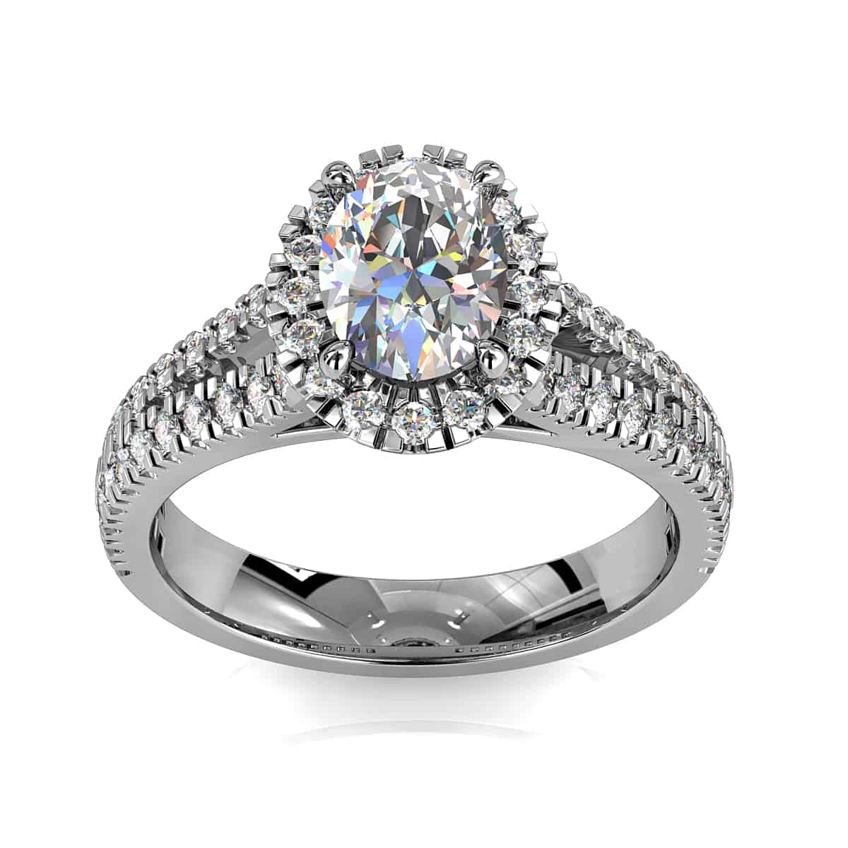 Oval Cut Halo Diamond Engagement Ring, 4 Round Claws set in a Cut Claw Halo with a Fine Cut Claw Split Band.