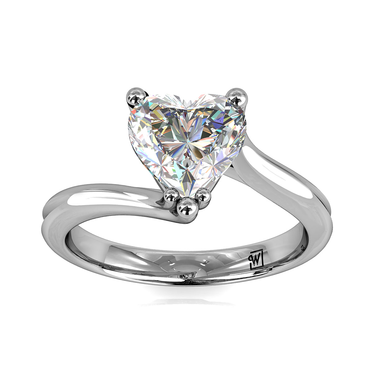 Heart Shape Solitaire Engagment Ring, Semi Bezel Set on a Plain Polished Band.