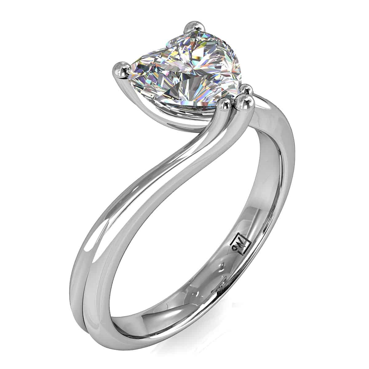 Heart Shape Solitaire Engagment Ring, Semi Bezel Set on a Plain Polished Band.g