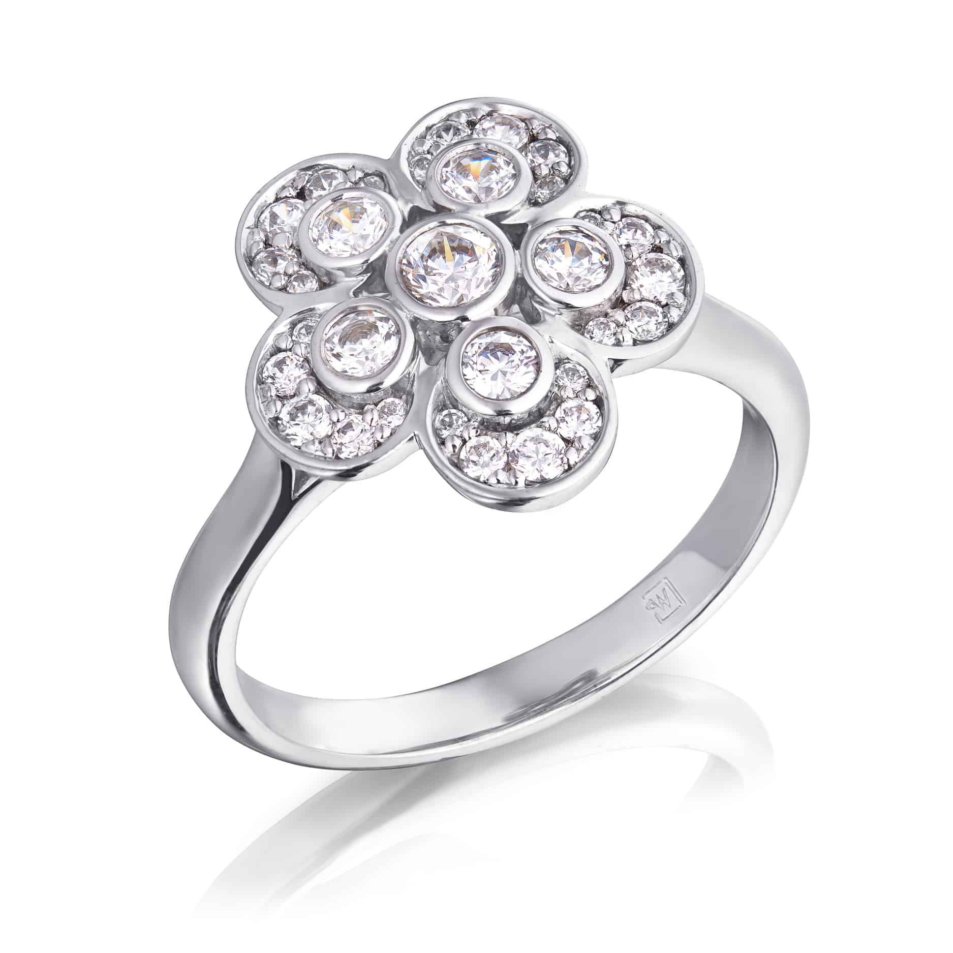 Diamond Flower Design Dress Ring