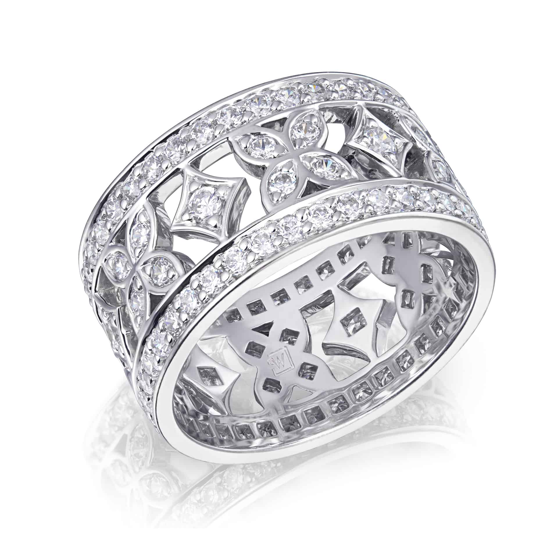 Diamond Set Vintage Cut-out Dress Ring