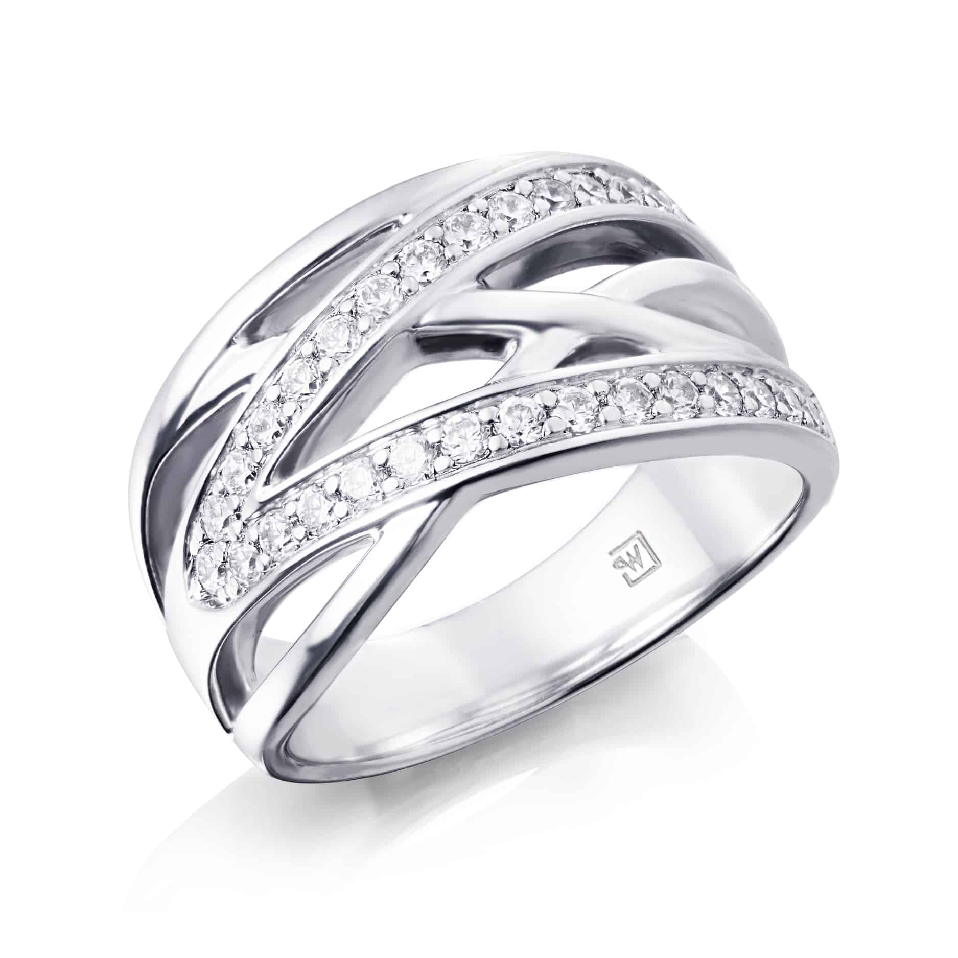 Diamond Set Overlapping Dress Ring