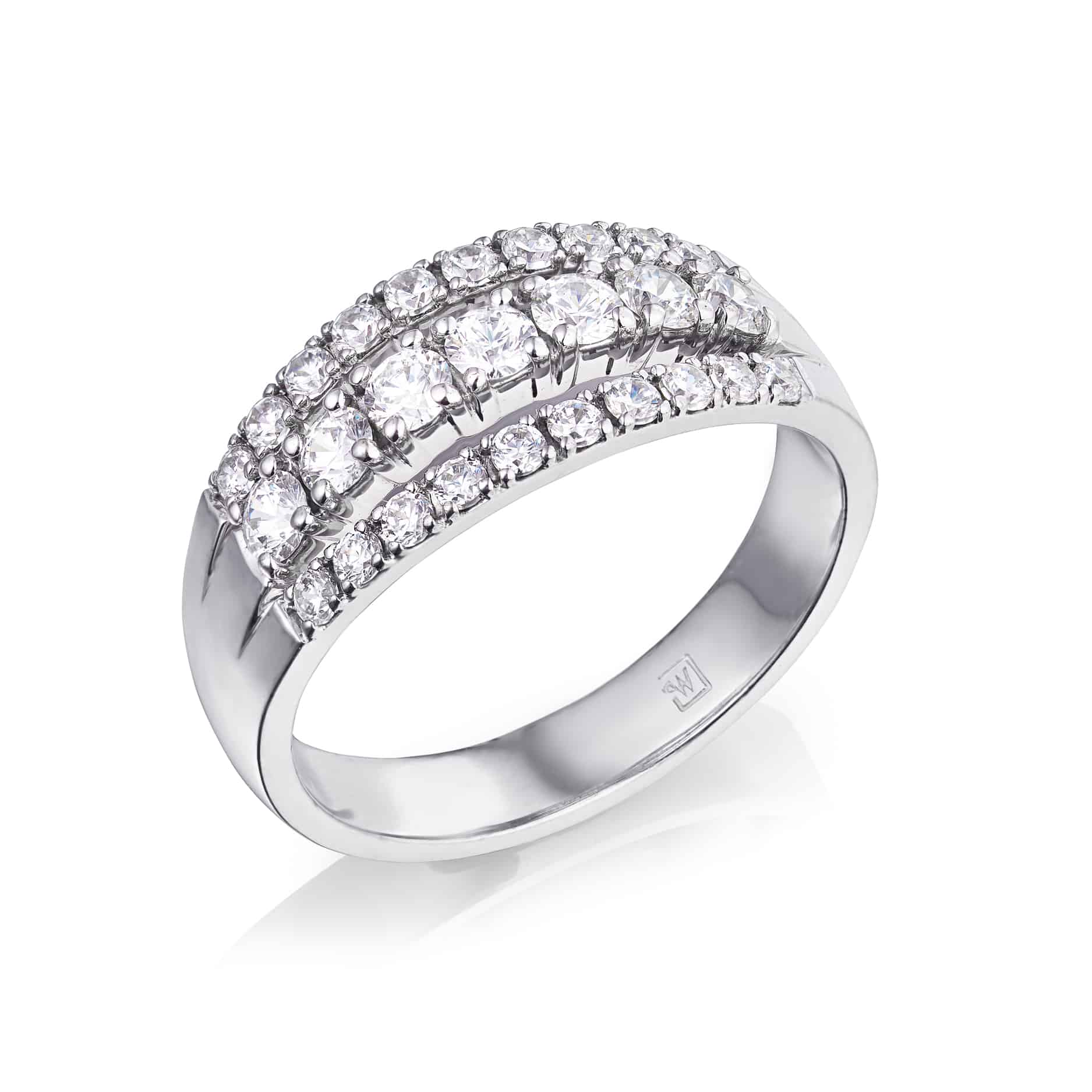 Diamond Set Three Row Cut Claw Dress Ring