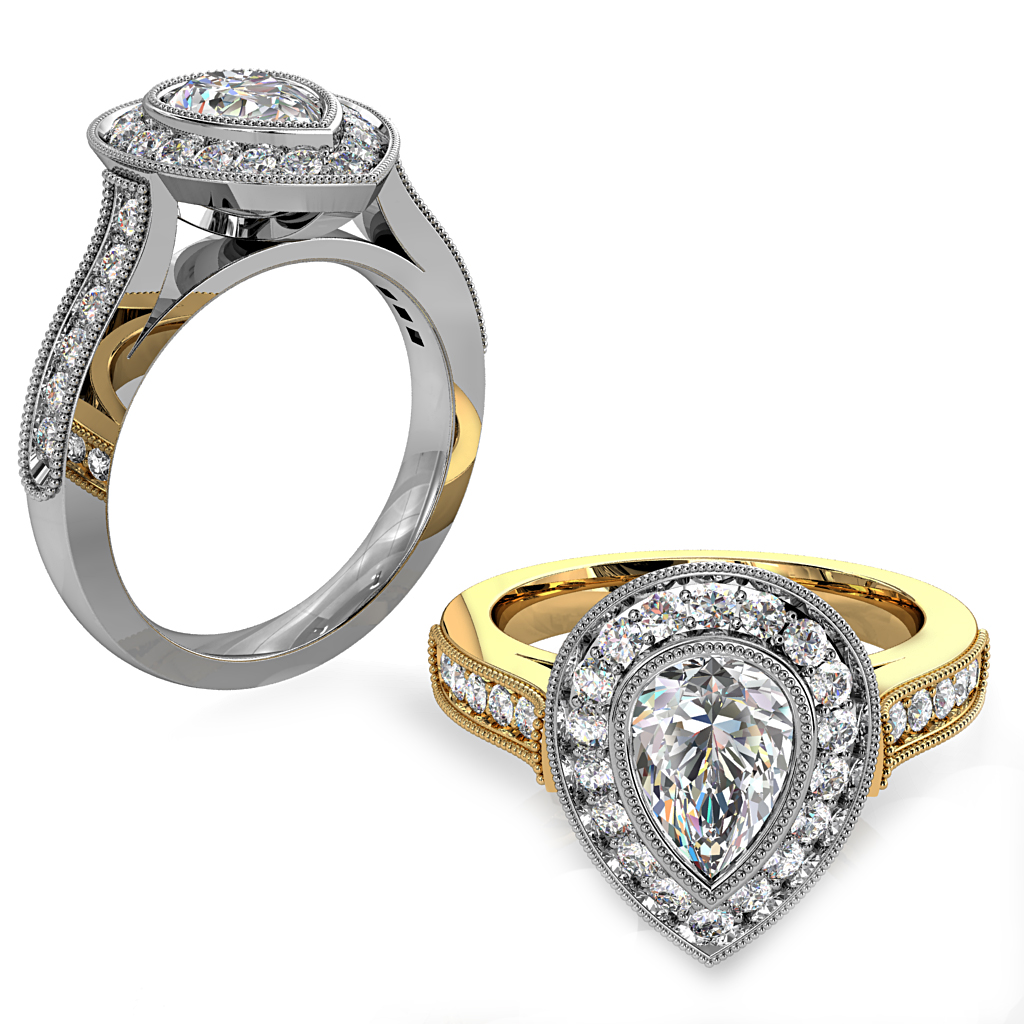 Pear Shape Diamond Engagement Ring, Milgrain Bezel Set in a Milgrain Bead Set Halo and Band with a Classic Underrail Setting.