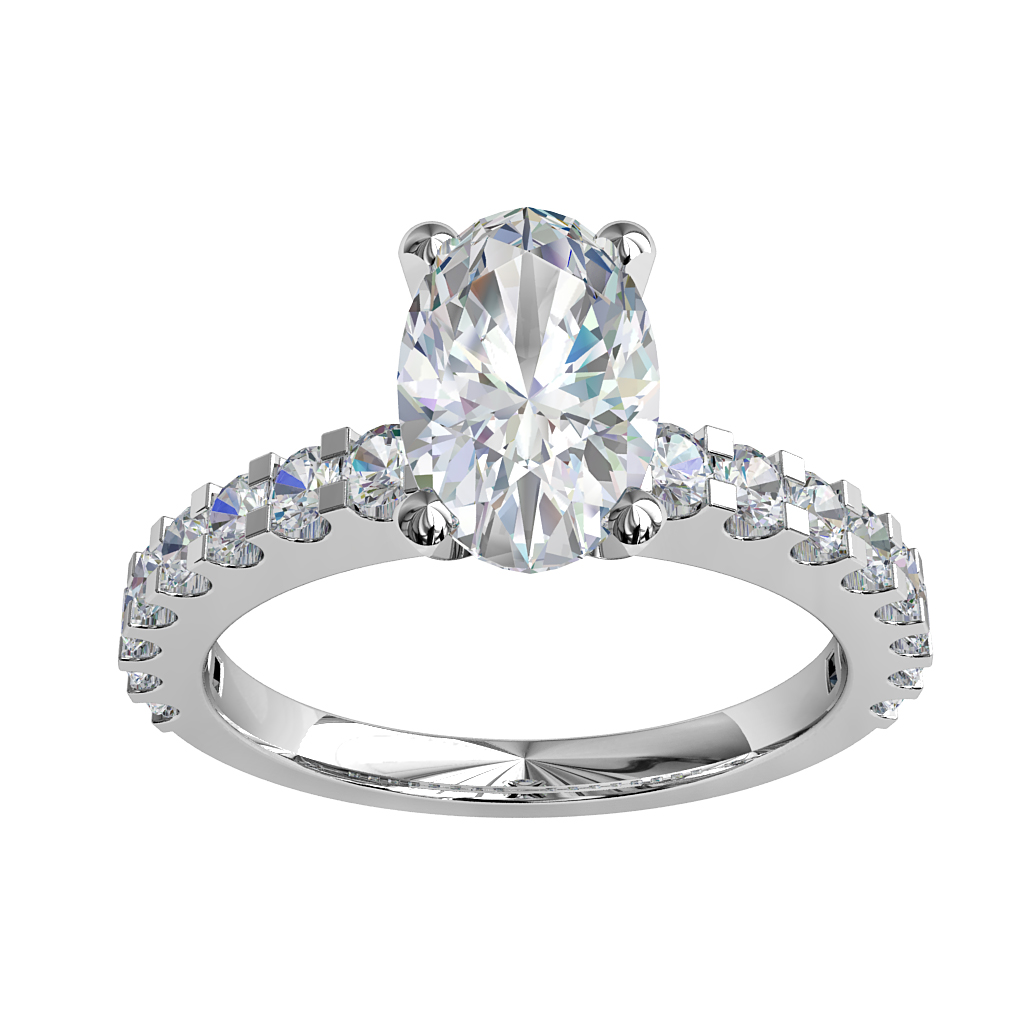 Oval Cut Solitaire Diamond Engagement Ring, 4 Claws on a Heavy Cut Claw Band.