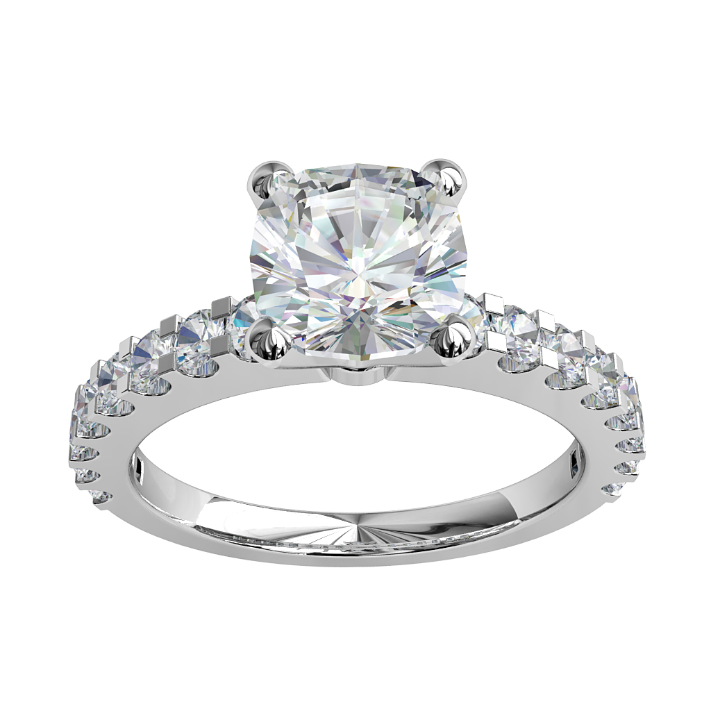 Asscher Cut Solitaire Diamond Engagement Ring, 4 Claw Set on a Heavy Cut Claw Band.