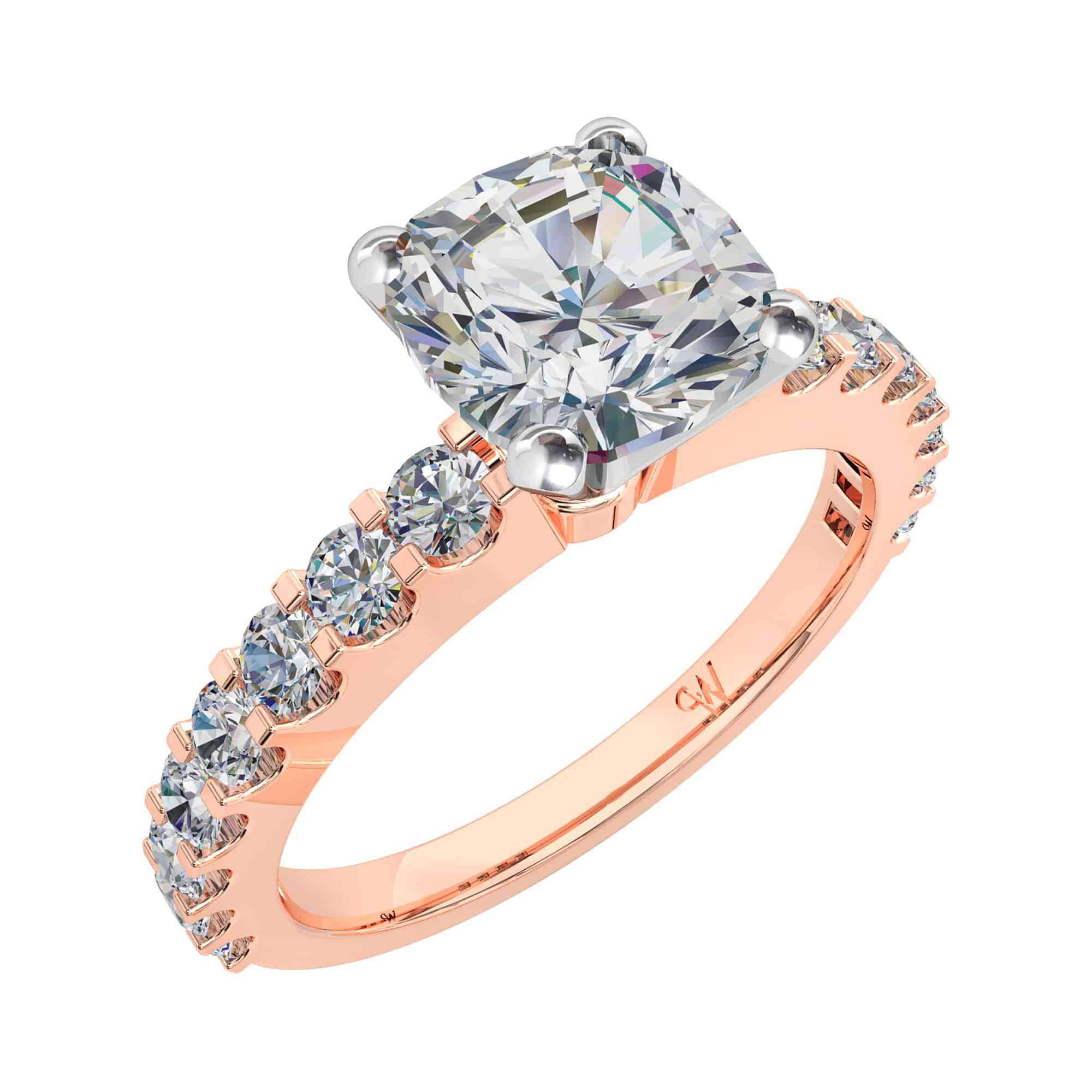 Cushion Cut Diamond Solitaire Engagement Ring