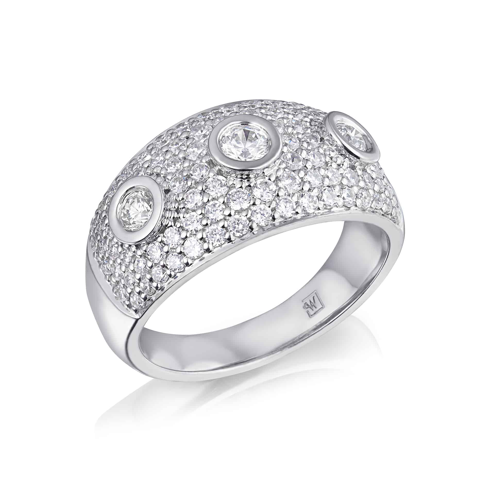 Three stone Pavee Set Diamond Ring