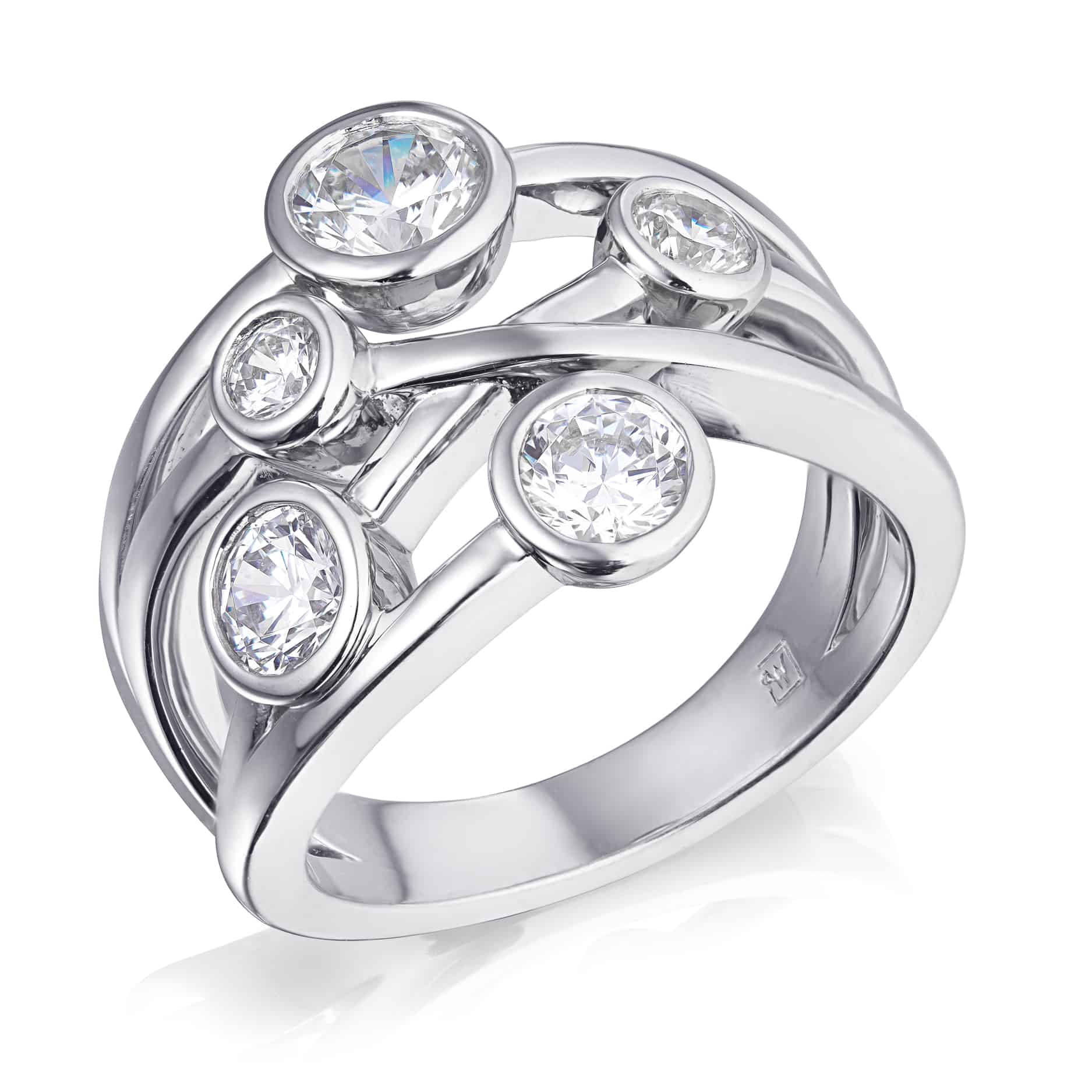 Bezel Set Multi Stone Diamond Ring