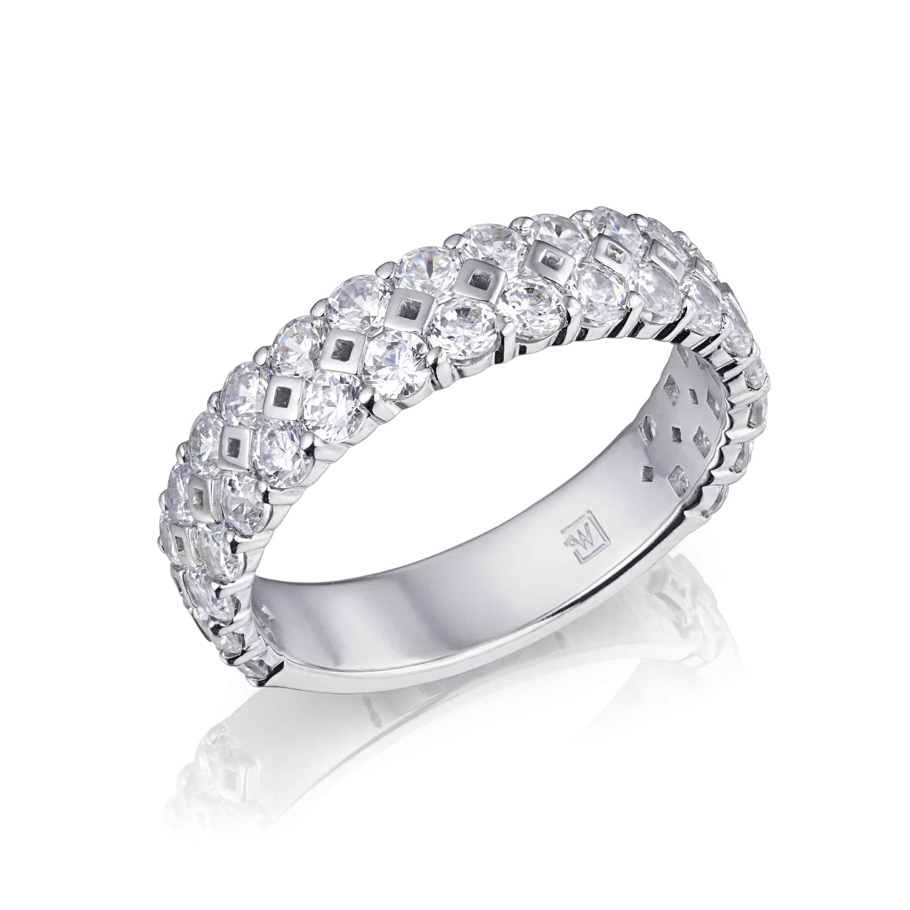 Diamond Set Two Row Ring