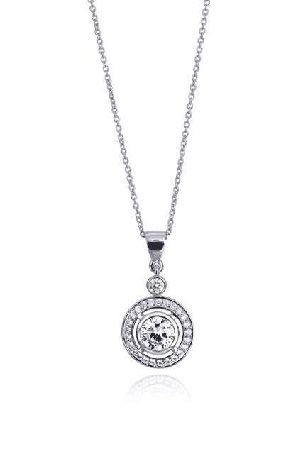 Round Diamond Bezel Set Halo Pendant