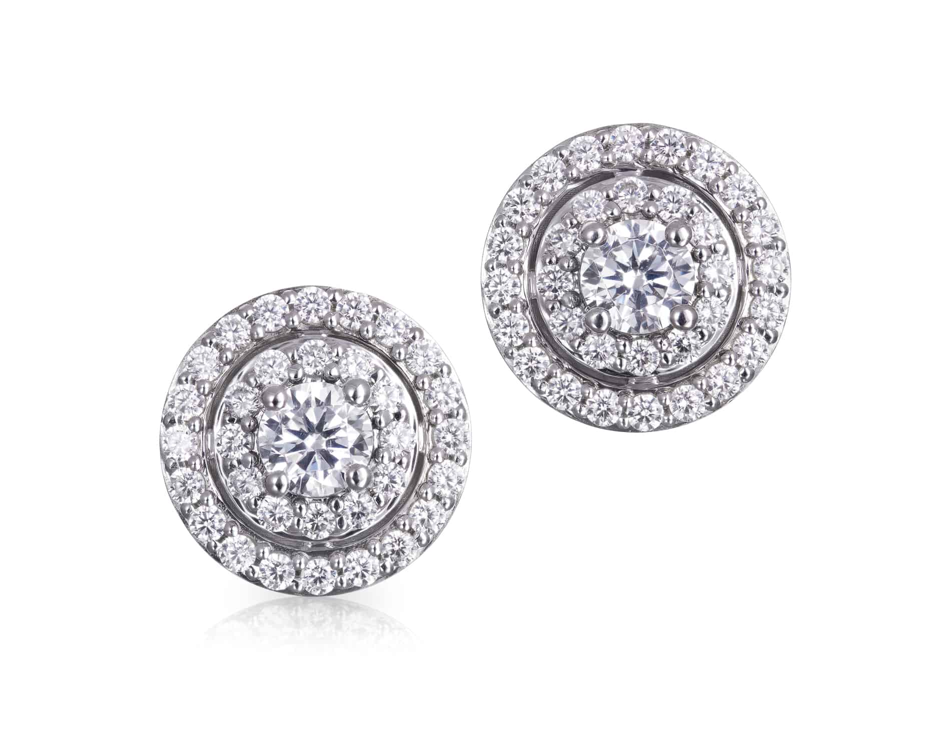 Diamond Set Double Halo Studs