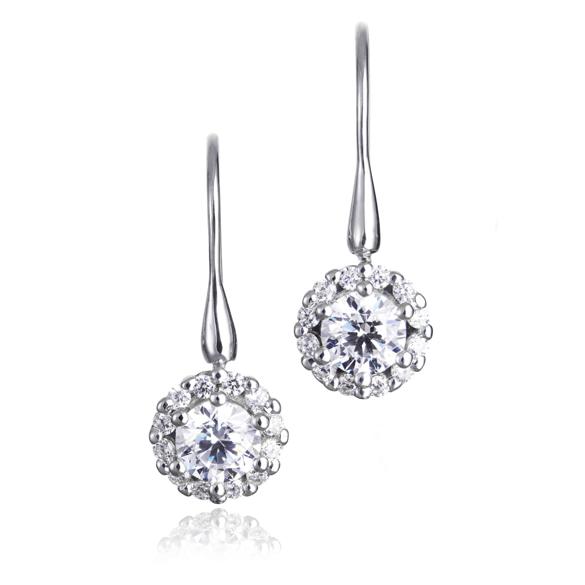 Diamond Set Cluster Drop Earrings