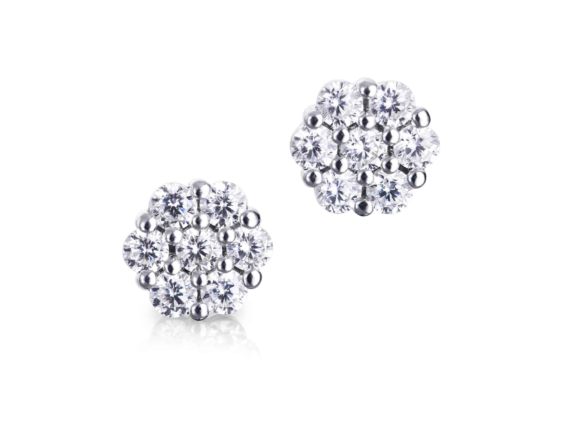 Diamond Set Cluster Stud Earrings
