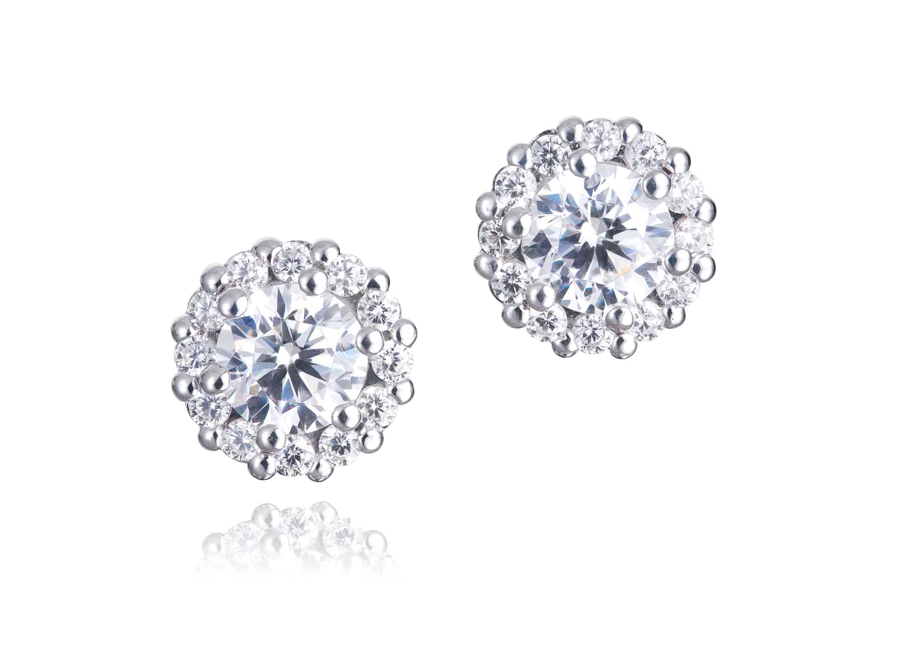 Diamond Set Halo Stud Earrings
