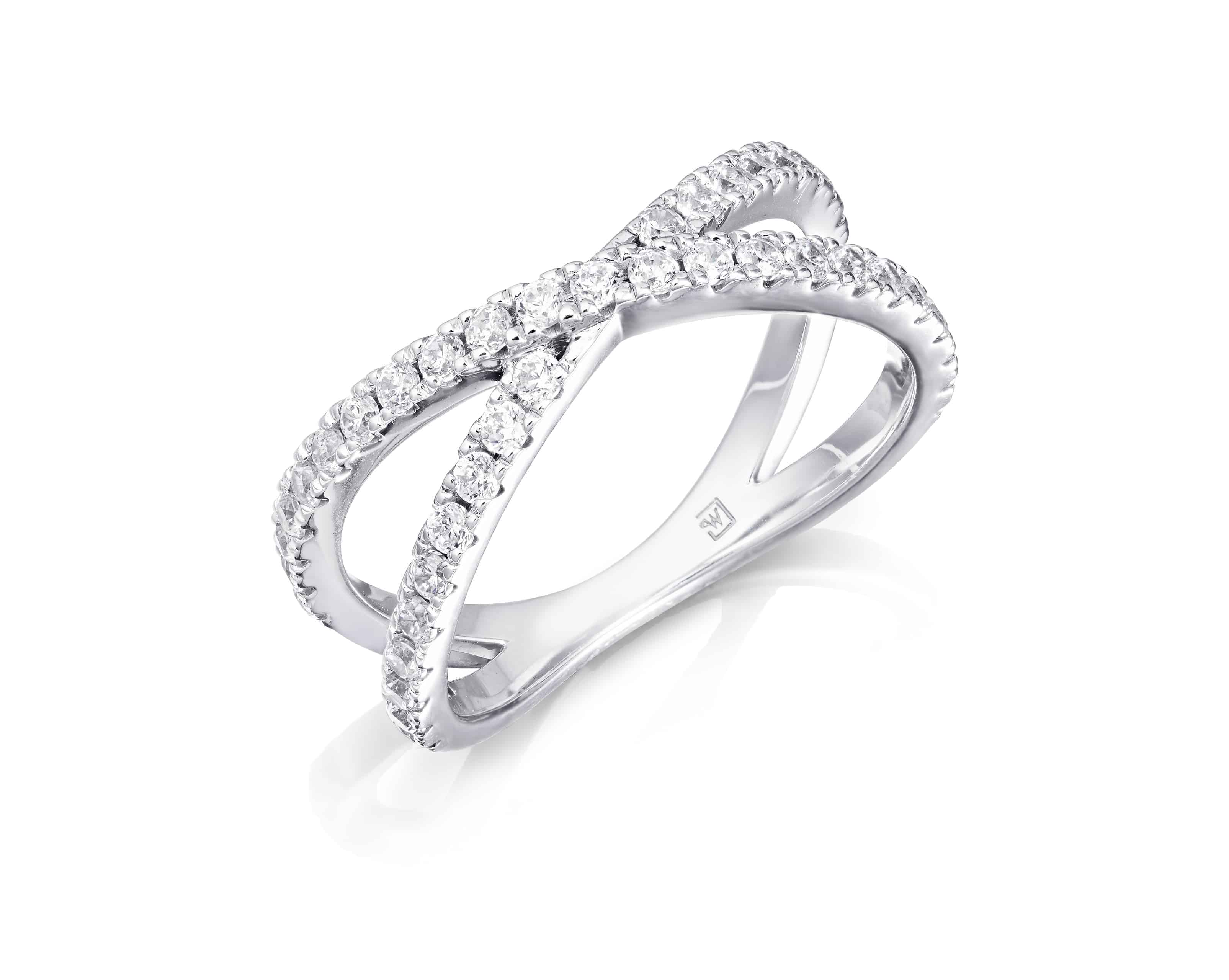 Diamond Set Crossover Dress Ring