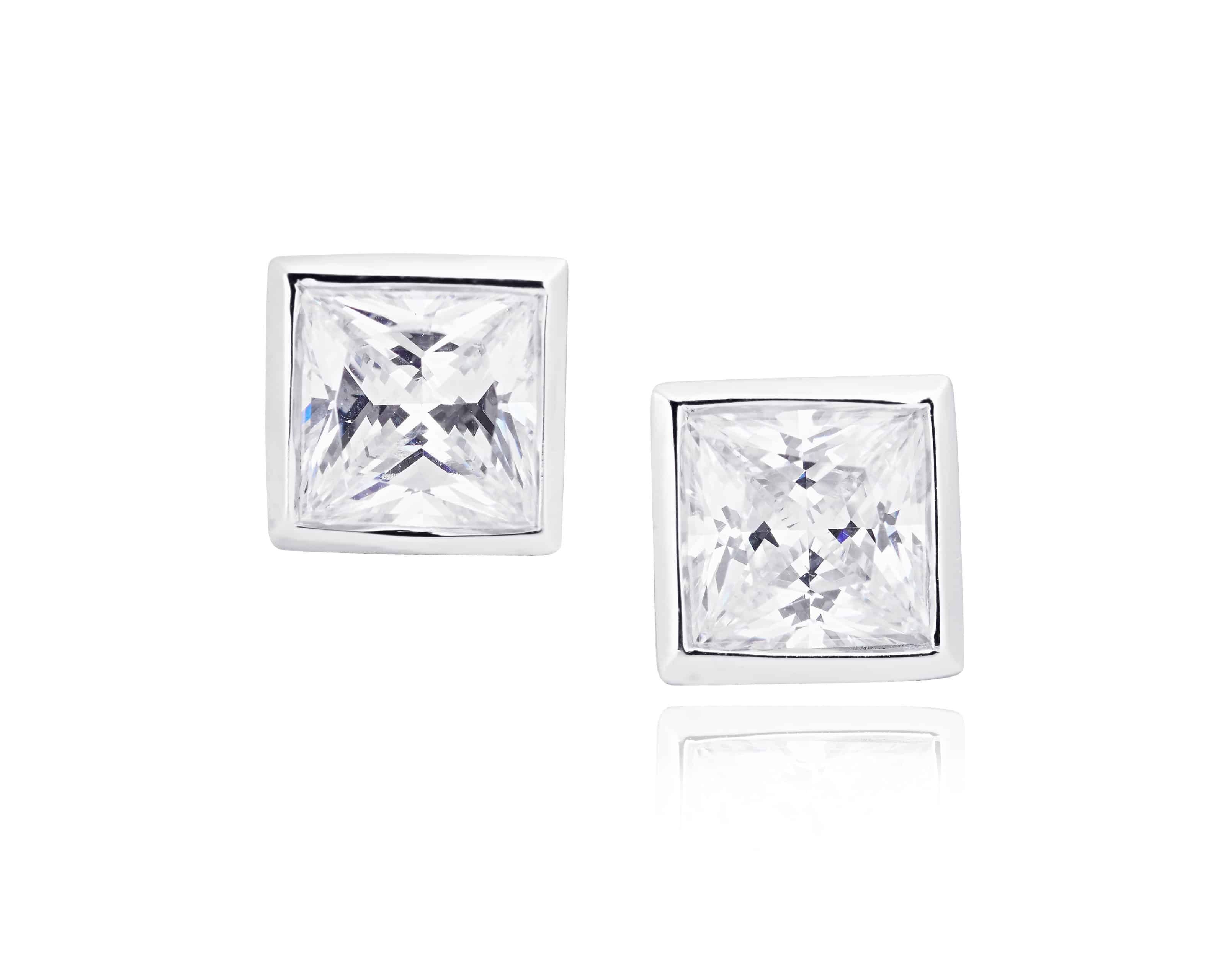 Diamond Set Bezel Stud Earrings