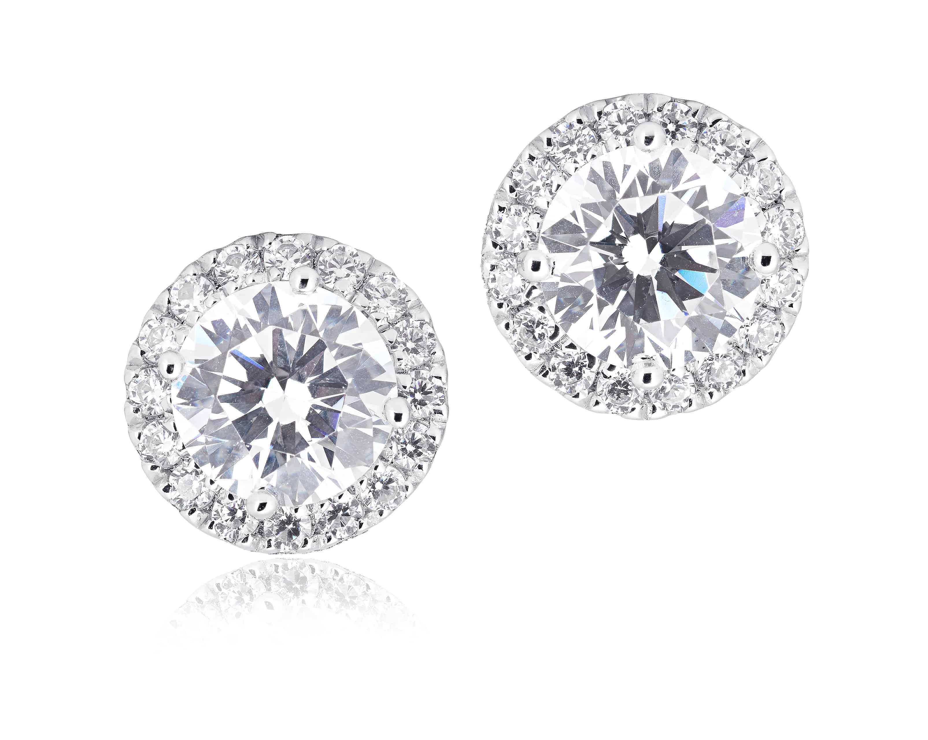 Diamond Set Halo Stud Earrings