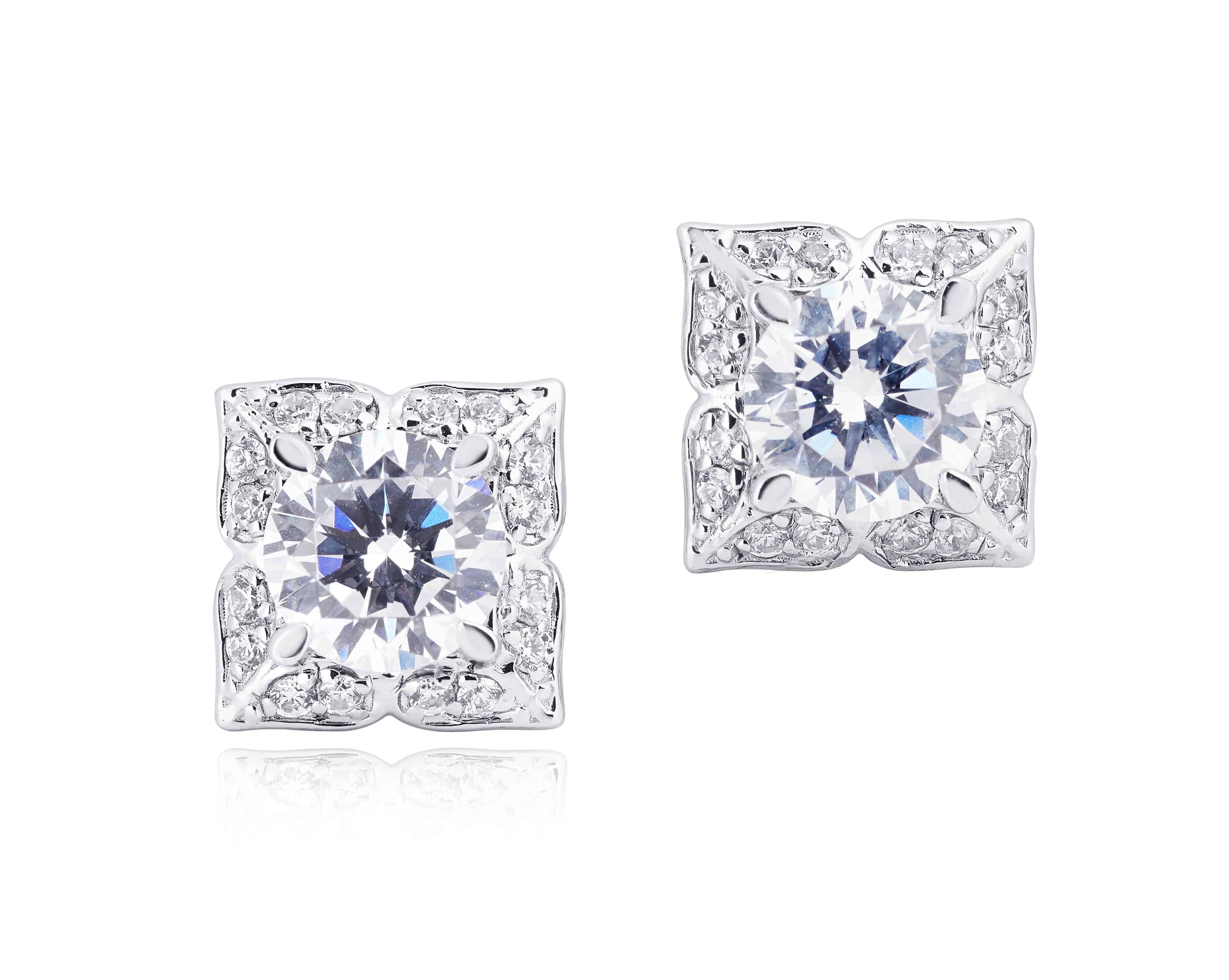 Diamond Set Flower Halo Stud Earrings
