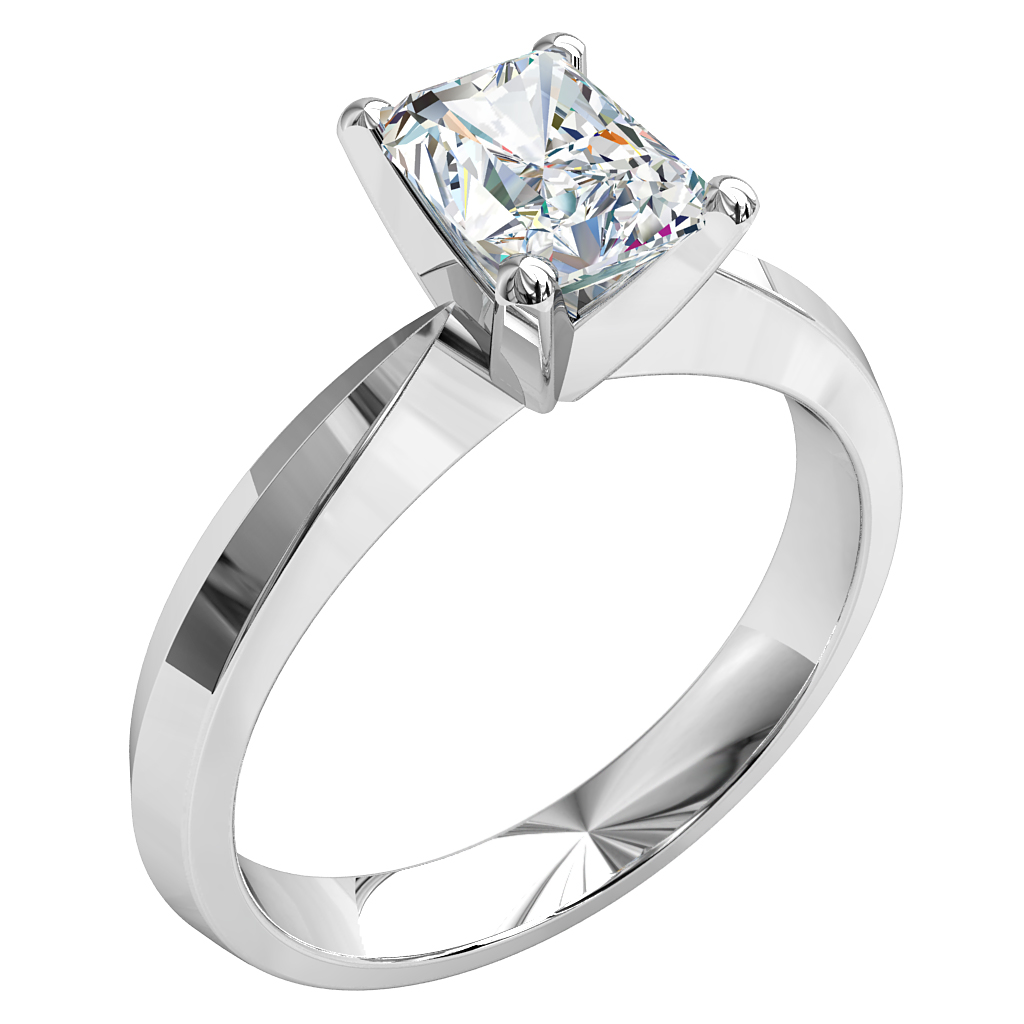 Emerald Cut Solitaire Diamond Engagement Ring, on a Wide Knife Edge Band.