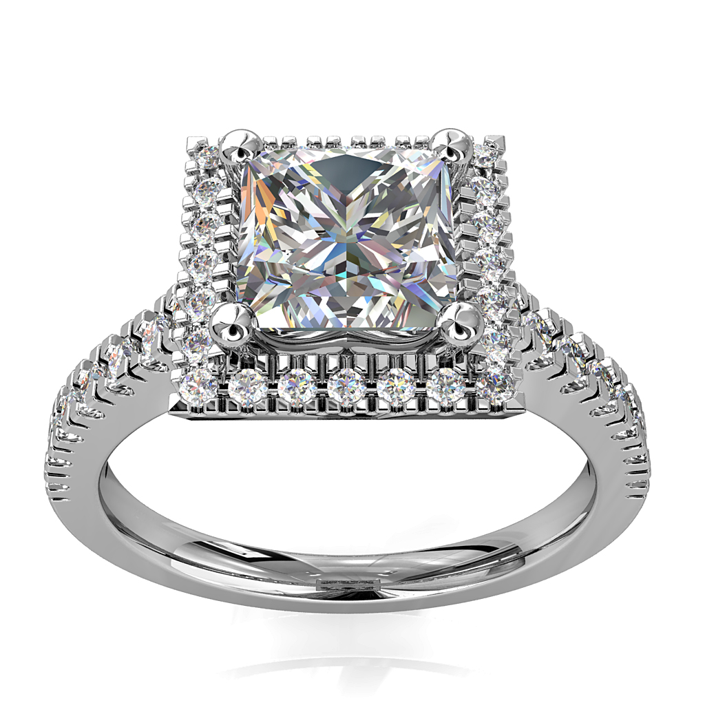 Princess Cut Halo Diamond Engagement Ring, 4 Claw Set with a Cut Claw Halo and Band.