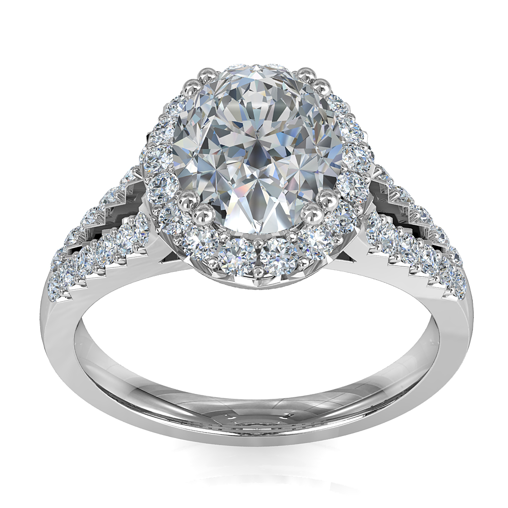 Oval Cut Diamond Engagement Ring, Double Claw Set in a Cut Claw Halo on Split Cut Claw Band.