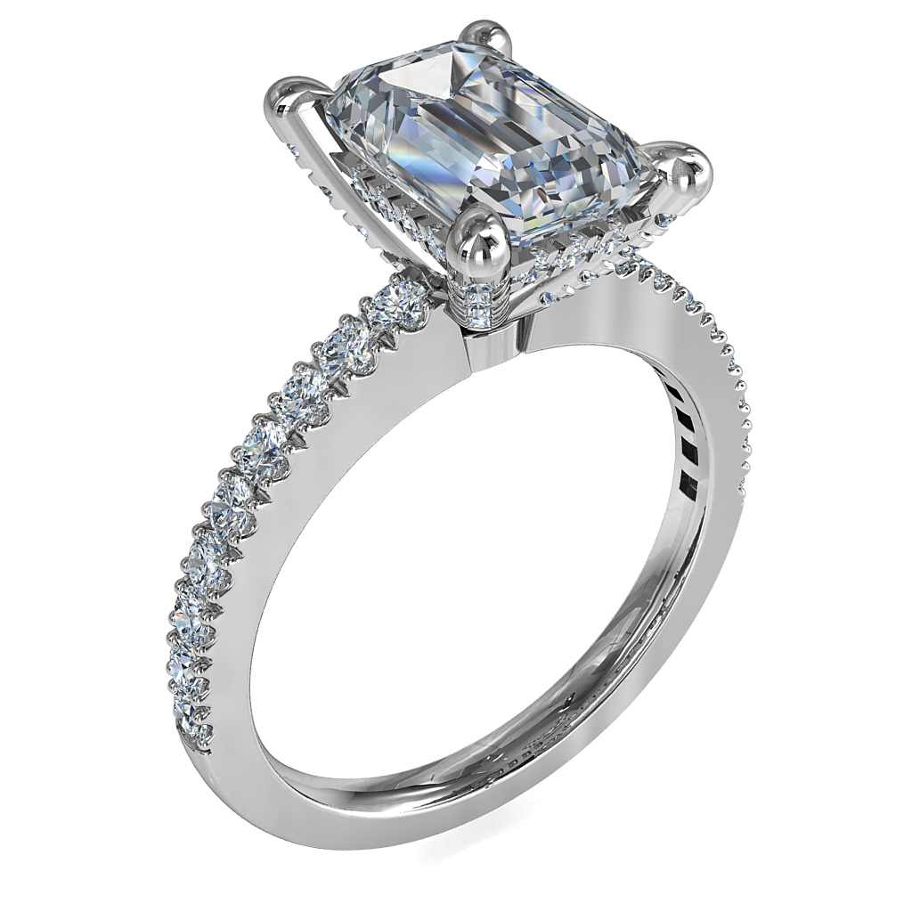 Emerald Cut Solitaire Diamond Engagement Ring, 4 Pear Claws Set on a Thin Cut Claw Band with Cut Claw Diamond Undersetting and Support Bars.