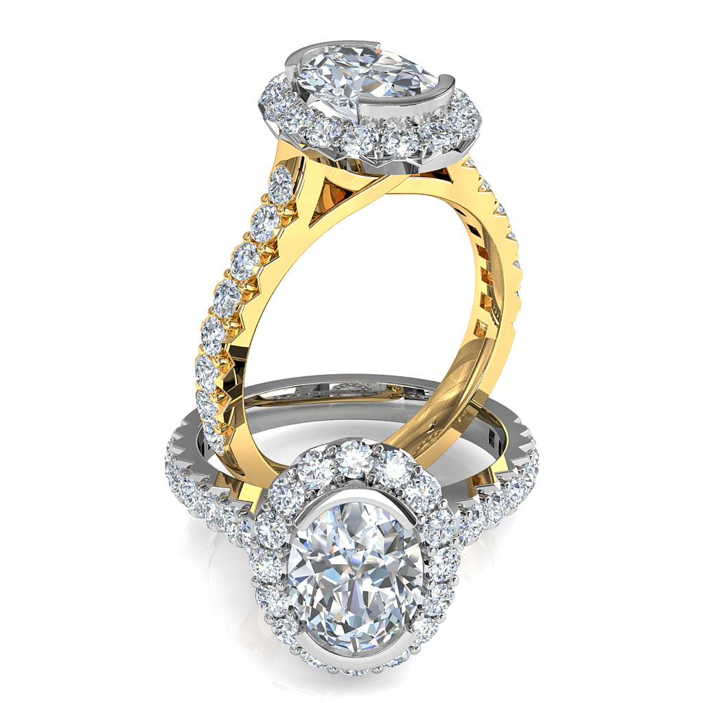 Oval Cut Diamond Engagement Ring, Half Bezel Set in Cut Claw Halo and Band.