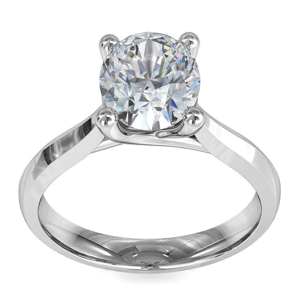 Oval Cut Solitaire Diamond Engagement Ring, on a Tapered Polished Band with an Undersweep Setting.