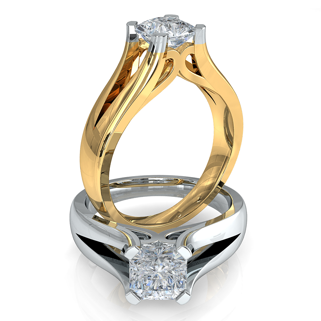 Asscher Cut Solitaire Diamond Engagement Ring, 4 Square Claws Set on a Split Band with V Sweep Setting Detail.