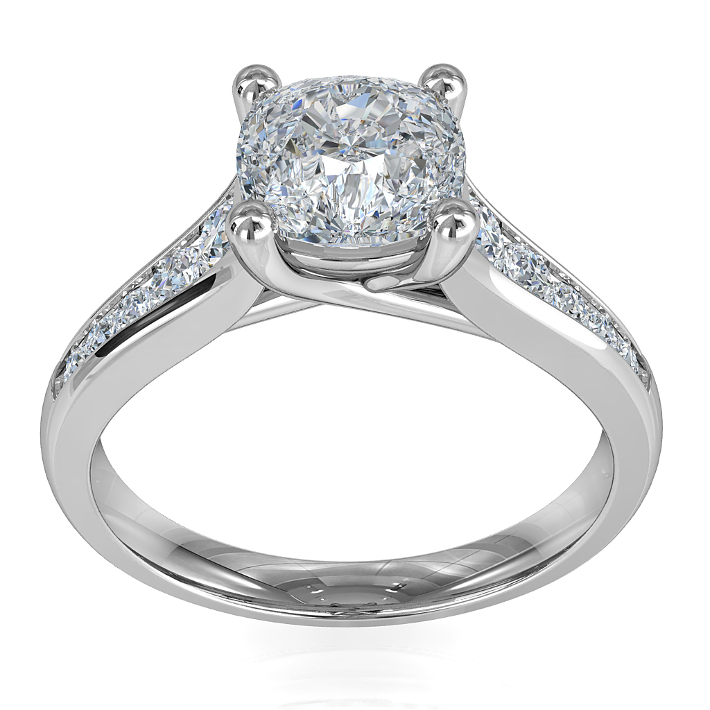 Asscher Cut Solitaire Diamond Engagement Ring, 4 Claw Set on a Reverse Tapered Channel Set Band with Undersweep Setting.