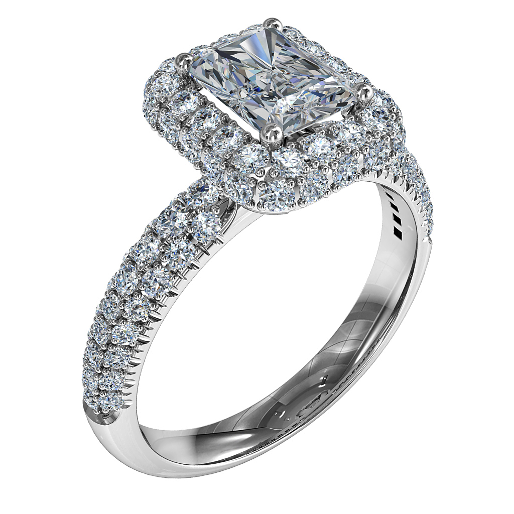 Emerald Cut Halo Diamond Engagement Ring, in a Rolled Pave Halo and Band.