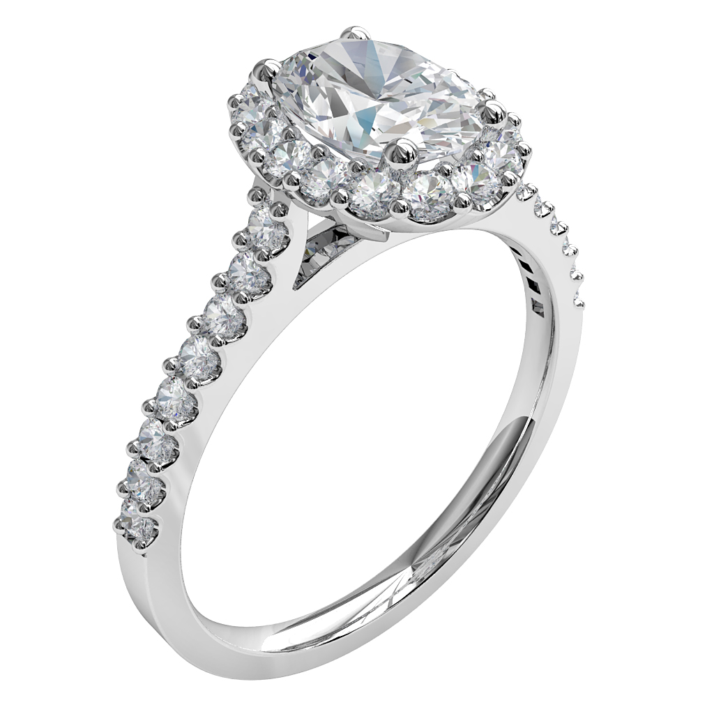 Oval Cut Diamond Engagement Ring, Cut Claw Halo and Band with Classic Underrail Setting.