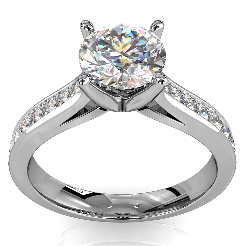 Round Brilliant Cut Solitaire Diamond Engagement Ring, 4 Pear Shaped Claws Set on a Wide Tapered Bead Set Band with Fluted Undersetting.
