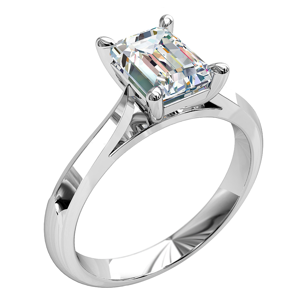 Cushion Cut Solitaire Diamond Engagement Ring, with 4 Pear Shape Claws.