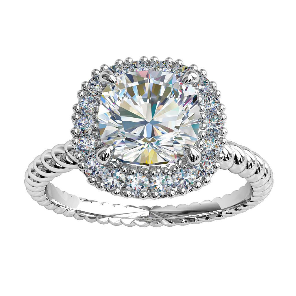 Cushion Cut Halo Diamond Engagement Ring, 4 Pear Claws Set in a Cut Claw Halo on a Twisted Rope Band.