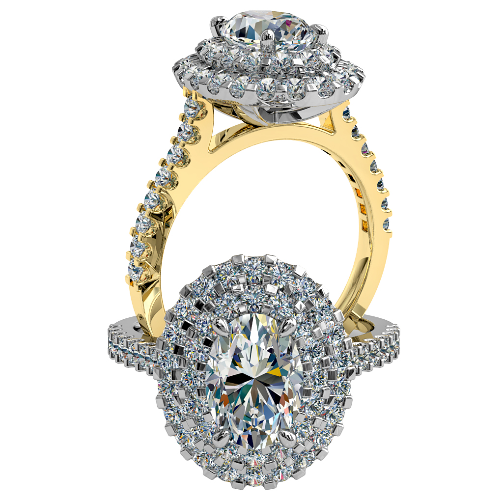 Oval Cut Diamond Engagement Ring, Double Cut Claw Halo on a Cut Claw Band.