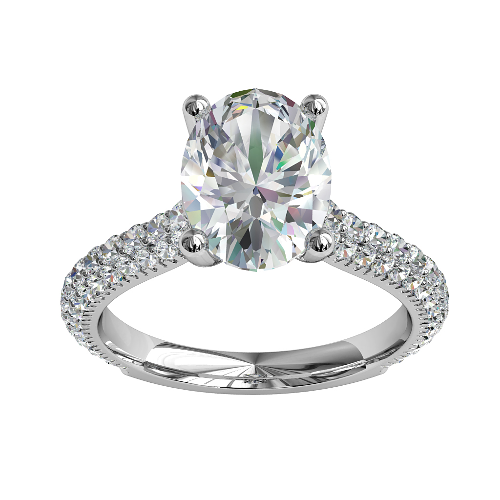 Oval Cut Solitaire Diamond Engagement Ring, 4 Claw Set on a Pave Set Band with an Undersweep Setting.