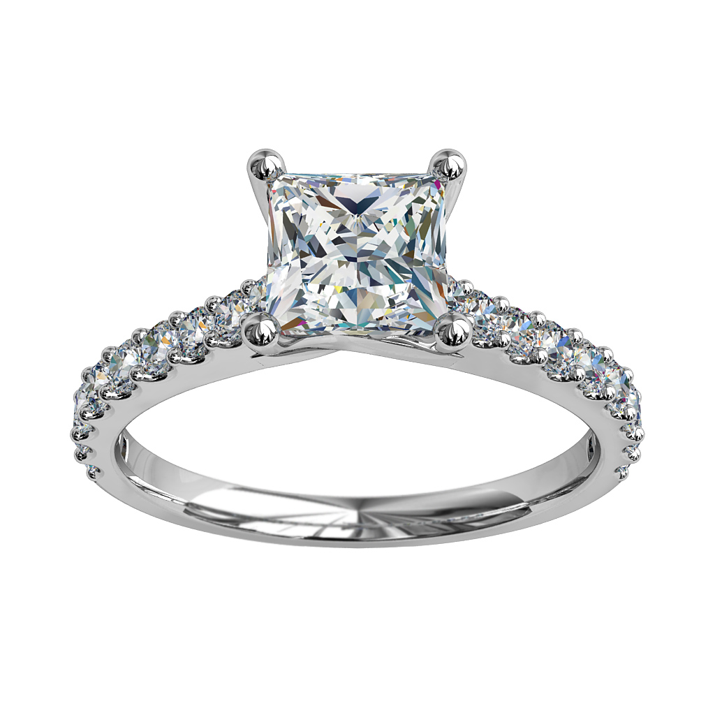 Cushion Cut Solitaire Diamond Engagement Ring, 4 Claw Set on a Tapered Cut Claw Band with an Undersweep Setting.