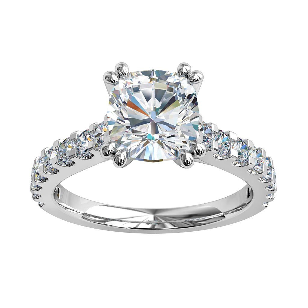 Cushion Cut Solitaire Diamond Engagement Ring, 4 Double Claw Set on a Cut Claw Band with an Undersweep Setting.