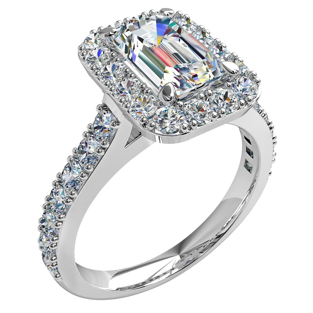 Emerald Cut Halo Diamond Engagement Ring, 4 Pear Claw Set in a Cut Claw Halo and Cut Claw Band with a Diamond Undersweep Setting.