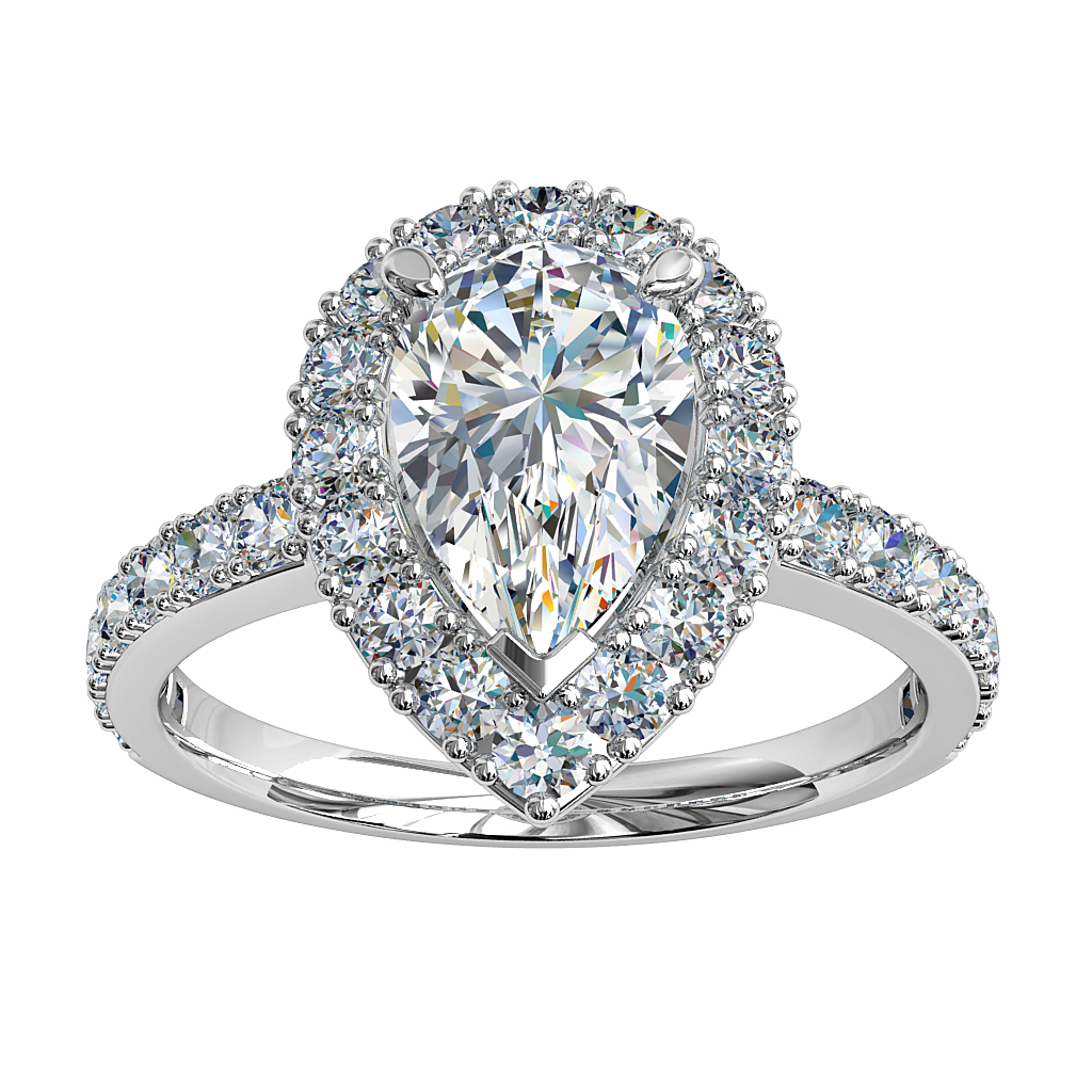 Pear Shape Diamond Engagement Ring, 3 Claw Set in Cut Claw Halo on a Cut Claw Band with a Diamond Curved Undersetting.