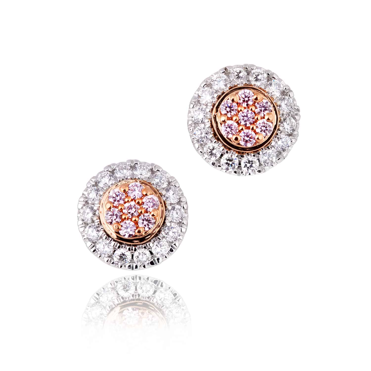18ctxwhite rose gold halo cluster pink diamond earrings