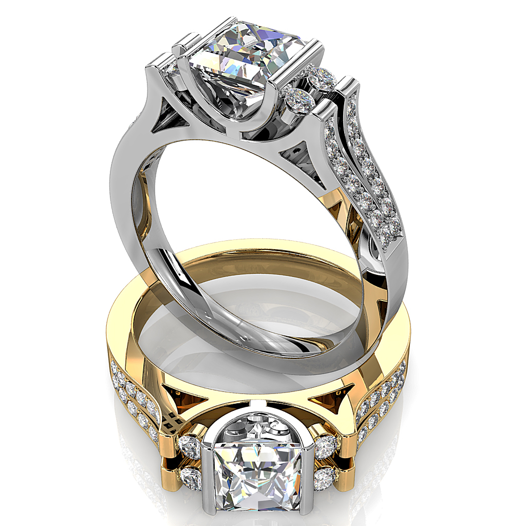 Princess Cut Trilogy Diamond Engagement Ring, Tension Set with Round Side Stones on a Split Bead Set Band.