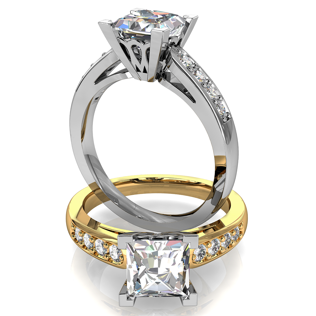 Princess Cut Solitaire Diamond Engagement Ring, 4 Corner Claws on a Bead Set Band with Lotus Support Bar.