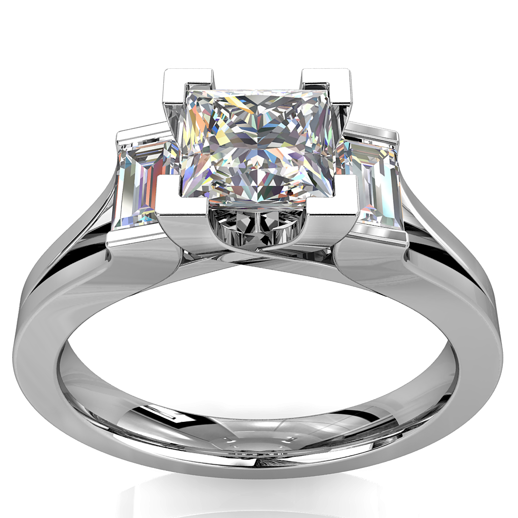 Princess Cut Trilogy Diamond Engagement Ring, with Baguette Sides on a Split Band.