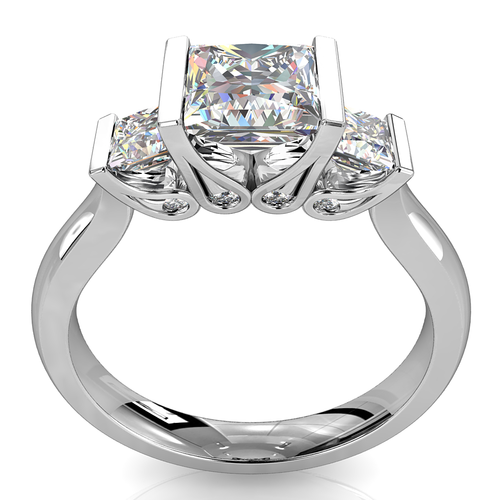 Princess Cut Trilogy Diamond Engagement Ring, Tension Set on a Plain Band with Hidden Diamond Undersetting.