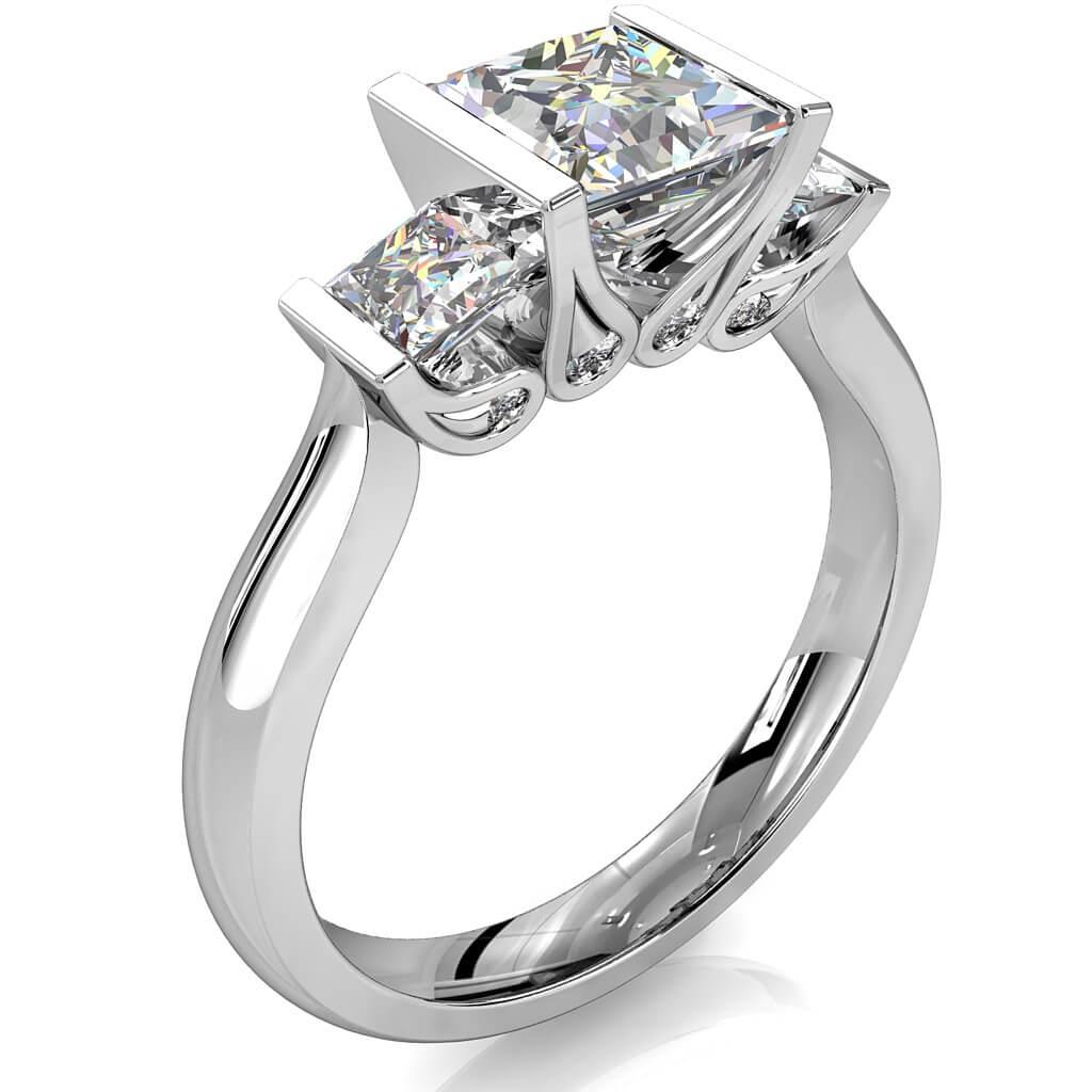 Princess Cut Trilogy Diamond Engagement Ring, Tension Set on a Plain Band with Hidden Diamond Undersetting.