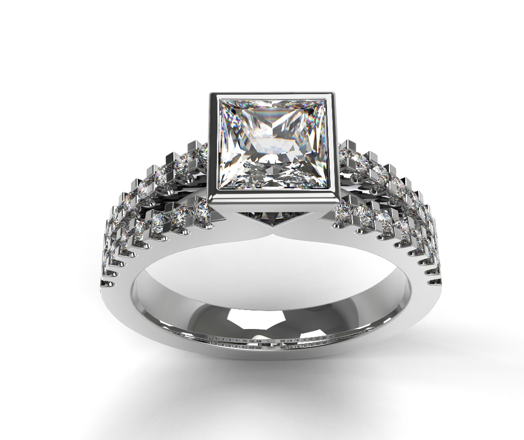 Princess Cut Solitaire Diamond Engagement Ring, Bezel Set on a Diamond Set Split Band.